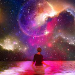 myedit stars water sky space