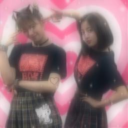 jihyo jeongyeon twice pink cybercore hellokitty sanrio edit catgirl cybergoth cyberedit background overlay aesthetic kpop freetoedit