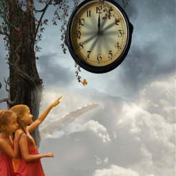 raven clock fantasy girls freetoedit