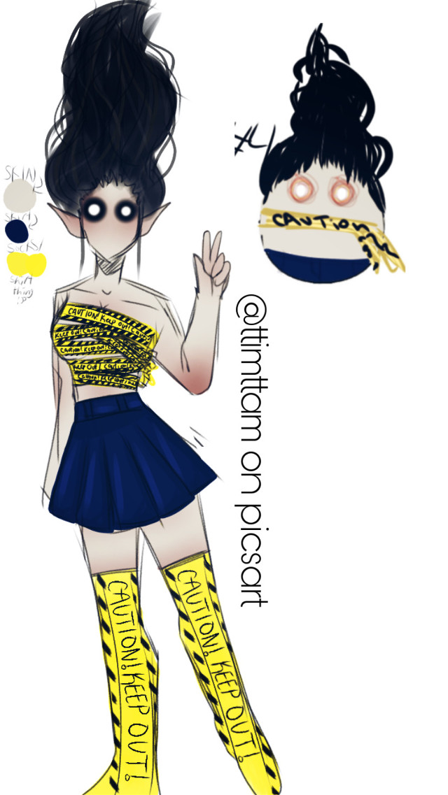 EGG #4, this gal is named Lillith (please dont change her name) shes pansexual (you can change that) and shes a demon gorl 😼           #art #drawinf #painting #digitalart #demon #demongirl #caution #tape #cautiontape #danger #warning #emon #grunge #death #metal #aesthetic #yellow #blue #girl #cute #evil #hardcore #black #eggraffle