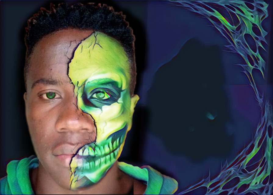 Edit by me Boy-photo by shaddyy   #surreal #intresting  #holographic #skullart #skull #art #freetoedit #skullhead #halfskull