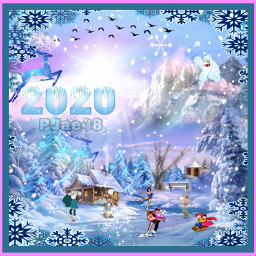 winter2020 icedeer birds mountain abominalsnowman sun clouds trees cabin iceskaters couple sledding snowflakes snow border myedit myart thankyousomuch background freetoedit