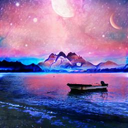 fantasy magiceffects ocean boat sky night moon planet freetoedit
