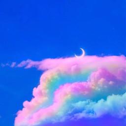freetoedit sky moon clouds rainboweffect edit