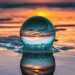freetoedit bubble water ocean beach sky sunset