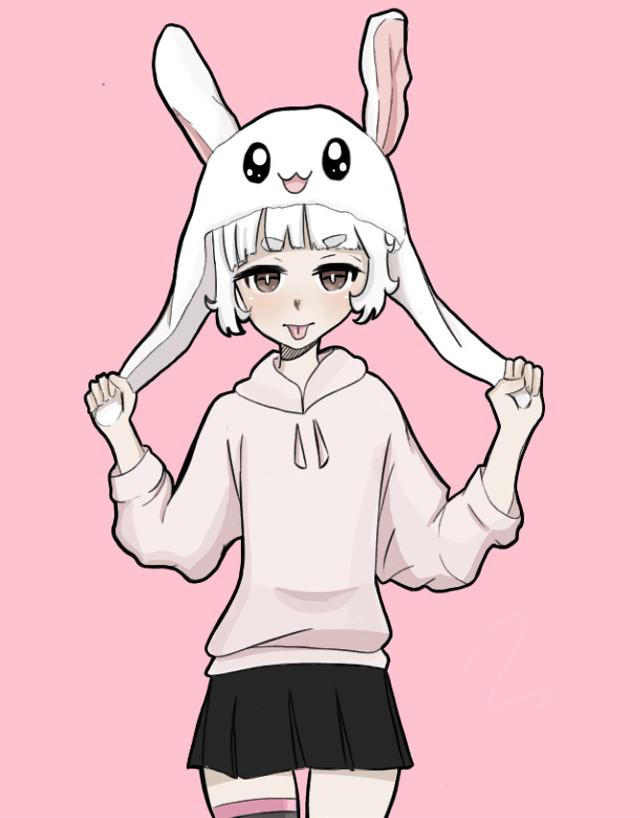 another drawing of zero :3 i thought the bunny hat idea was so cutee (ᵔᴥᵔ)   #interesting #art #animeartstyle #animestyledrawing #art #artstyle #bunnyhats #kawaiigirl #pinkaesthetic #kawaiicute #mallgoth #aesthetic