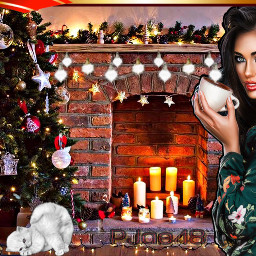 myedit myart tistheseason girl fireplace candles christmastree kittens decorations freetoedit