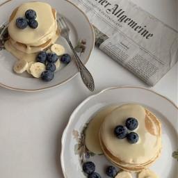 aesthetic asthetic aesthetics pancakes blueberries blueberry breakfast banana bannanas bananas fork newspaper