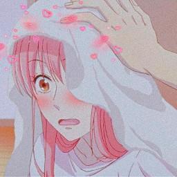 aesthetic anime profilepic kawaii love heart art japan nature night wet couple crown girl cute blush pink hair red freetoedit