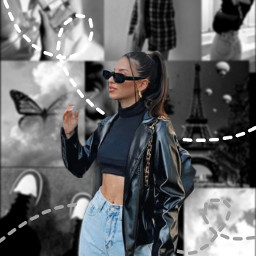 black aesthetic aestheticoutfits aestheticoutfit blackaesthetic sunglasses jacket hair ponytail vintage vintageaesthetic like follow outline outlineedit aestheticedit pinterest edit brusheffect collage aestheticcollage