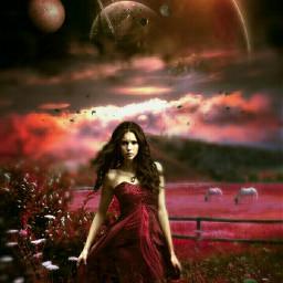 freetoedit mastershoutout womaninred space galaxy