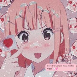 kawaii pink softaesthetic girl anime animeaesthetic shinee message candy blush happy japan nature night profilepic freetoedit