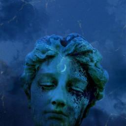 freetoedit blue estatua astheticedit wallpaperedit blueaesthetic aestheticwallpaper bluemoon