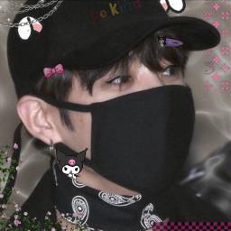 bts jungkook black bunnyears kuromi bow flowers chains freetoedit