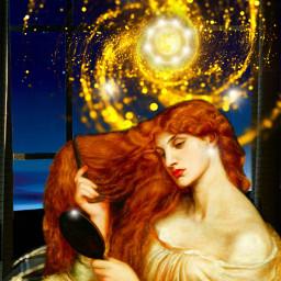 girl mirrow galaxy glowing hair planets stars window night whitedress redhair madewithpicsart freetoedit