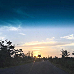 ontheroad travel photography sun sunset road trees sky clouds template wallpaper background freetoedit picsart puertorico