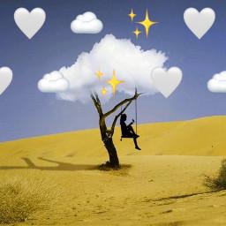 silhouettegirl tree clouds freetoedit srcmonochromeemojis