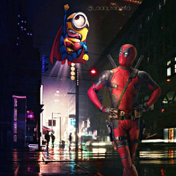 myedit edit myartwork digitalart digital manipulation editorphoto editbyme minion deadpool superhero hero freetoedit