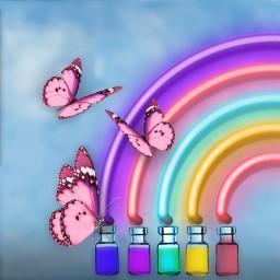 rainbow butterflies pastel colorful madewithpicsart picsart freetoedit ircminimagicbottle minimagicbottle