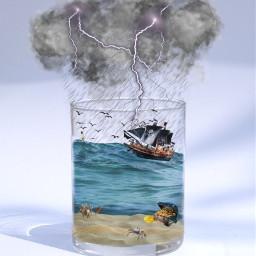 glassofwater ocean pirate pirateship treasure underwater storm crab ihopeyoulikeit freetoedit ircglassofwater