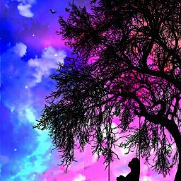 sky skyandclouds skybackground background backgrounds clouds blueandpink girl tree 😁 stars freetoedit