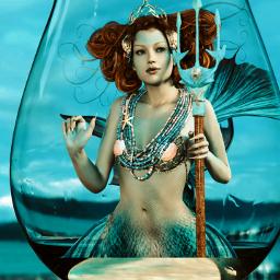 mermaid myediting blue wineglass musicvibes