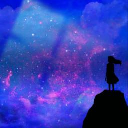 girl girlsilhouette blue background backgrounds blueandpink freetoedit