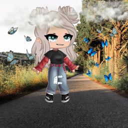 freetoedit gacha butterfly road tree trees clouds hair blue eyes shoes shirt pants red black green lightbrown xxnovanightmarexx