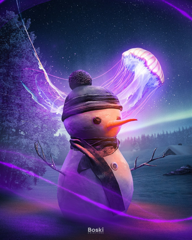 magical company to shine through the night 🌃  .  .  .  Stock: Unsplash, PixelSquid  Made using @photoshop  Take care. Please. You matter.      #picsart #makeawesome #papicks #jellyfish #snowman #snow #winter #northernlights #trees #magical #surrealism #light #visualcreative #creativity