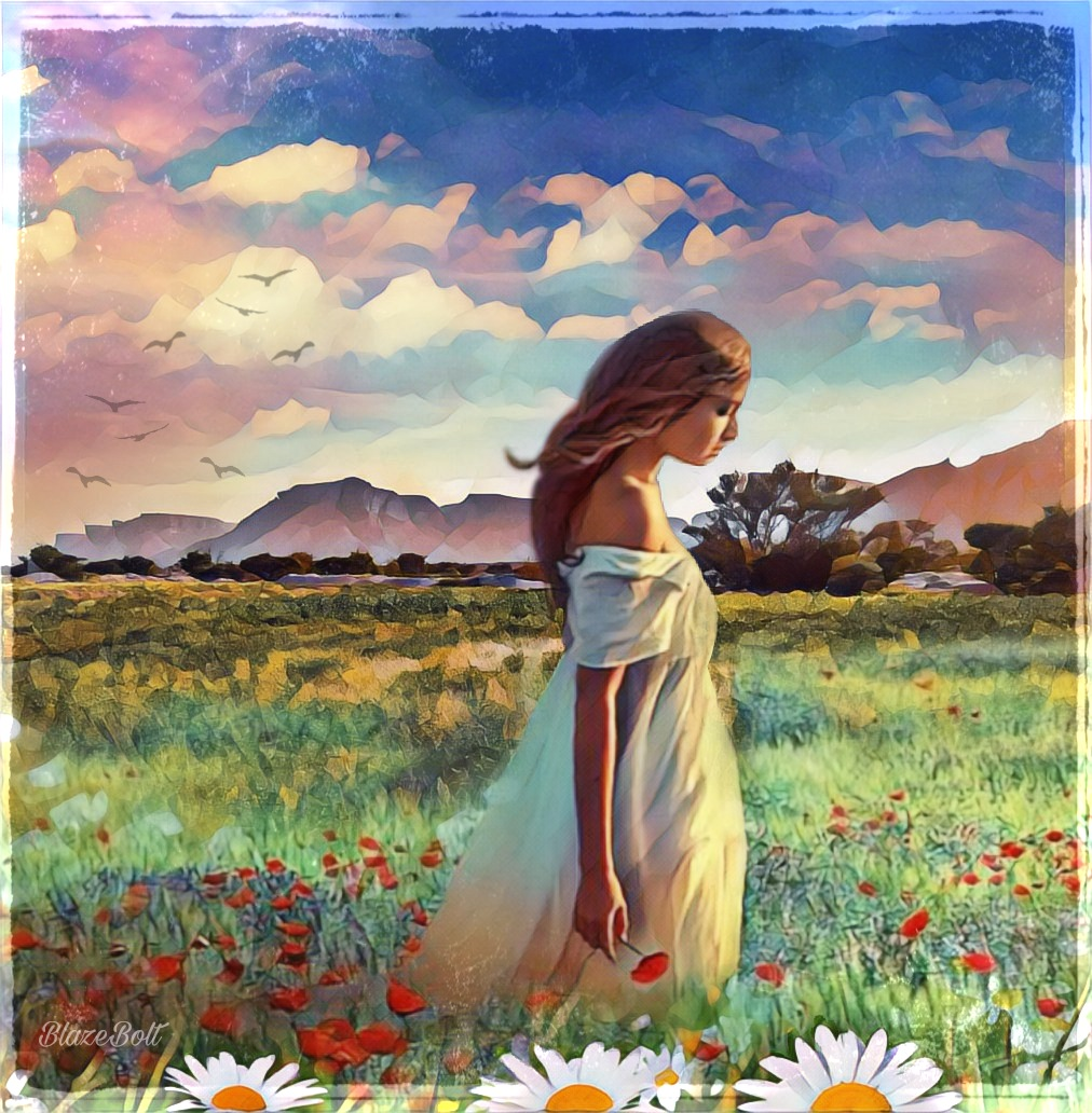 """""""Cosmos and Daisies"""" Another #mastershoutout from the gallery of @m_saaaaa #landscape #flowers #fantasy #girl"""