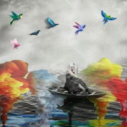 fantasyart womantravel surrealism lanscapefantastic landscape freetoedit eccolorsonblackandwhite colorsonblackandwhite
