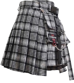 fashion altfashion alternative alternativefashion clothesaesthetic clothes outfit skirt plaid gray grey black white emo goth grunge freetoedit