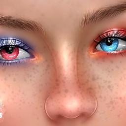 freetoedit eyes redandblue