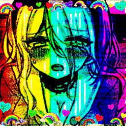 freetoedit rainbowcore glitchcore scenecore rainbow