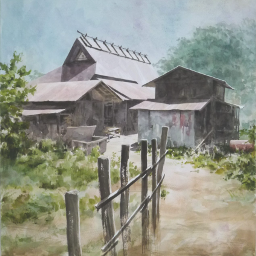 drawing art watercolor countryside kyoto