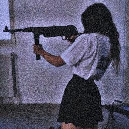 cutegirl gun aesthetic girlwithagun vhs freetoedit