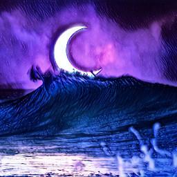 freetoedit techprodee crescentmoon ocean waves moonlit moonlitnights night unsplash