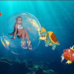 nessa pokemonswordandshield nessapokemon dreadnaw magikarp bubble bubbletrap trappedinabubble bubbletrouble cute freetoedit