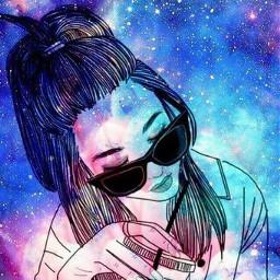 girl sunglasses glitter galaxy freetoedit