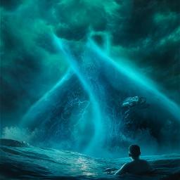 picsart papicks makeawesome sea ocean waves huge boy water sky clouds blue freetoedit
