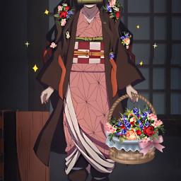challenge anime demonslayer nezukokamado nezuko flowers kawaii freetoedit srcflowerpower flowerpower
