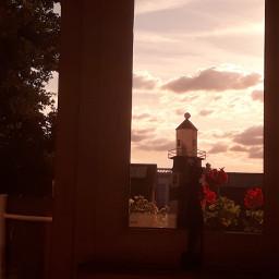 sunset wallpaper foto clouds cloudsandsky window windows wallpapers background backgrounds sunsetwallpaper blickausdemfenster aesthetic astethicsunset astethicwindow beutiful beautifulworld balconyview