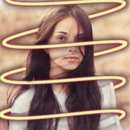 girl woman longhair swirl neon remixit freetoedit