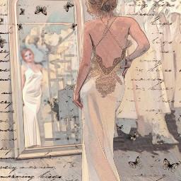 elegantwoman weddingdress bathroomaesthetic dressingroom bathroomart bedroomart wallart srchandwrittenbackground handwrittenbackground freetoedit