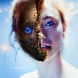 woman robotface picsart robotgirl freetoedit