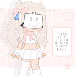 8613 gacha gachalife gachaclub sad mask lie thruth pink white kawaii cute blond freetoedit