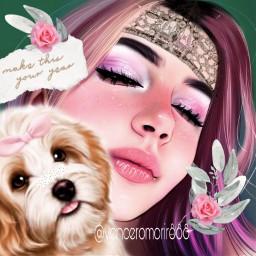 girl pet dog flowers rcmintgreenaesthetic freetoedit