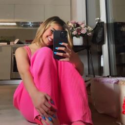 freetoedit addisonrae pink selfie mirror phone happy sittingdown tiktok tiktoker me lovely addison rae remixme photooftheday
