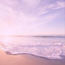 aethsetic waves beach pink purple sand sky clouds soft freetoedit