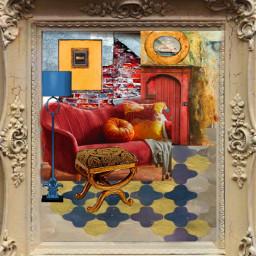 freetoedit framedfamilyroom brickwall frenchfries redandgold fantasyart interiorstyling remixedbyme